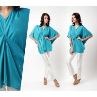 ACCENT - Sierra Poly Crepe Batwing Blouse AR13110136 Blue For Women