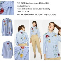 Blue Embroidered Stripe Shirt (S,M,L) - 17052