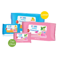 Pure baby cleansing wipes 60s 3pcs