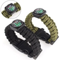 Survival Bracelet for Hiking Camping Running Cycling Sport with Compass Gelang Kompas Kemping