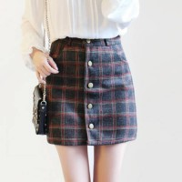 [globalbuy] 2016 autumn and winter skirt was thin skirt plaid woolen A character skirt sin/4005548