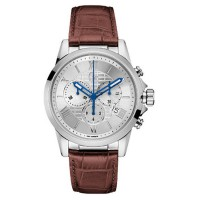 GC Guess Collection Jam Tangan Pria Coklat Silver Leather Strap Y08005G1