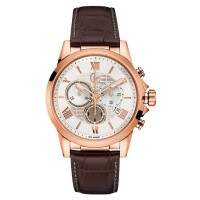 GC Guess Collection Jam Tangan Pria Coklat Rosegold Leather Strap Y08006G1
