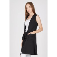 Hilda Black Long Vest