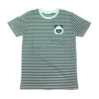 WRPT Apparel Panda Face Stripe Tee Unisex Kaos Pria Kaos Wanita - Black Striped