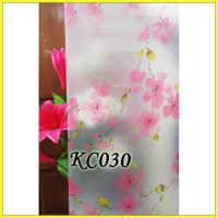 KC030 PEACH FLOWER 45CMX5M SANDBLAST STICKER KACA SUNBLAST