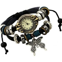 [poledit] SumBonum Jewelry Womens Alloy Leather Rope Surfer Wrap Bracelet Wrist Watch, Vin/13190994