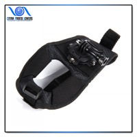 Glove Style Velcro Wrist Band with Mount for Action Camera - Hitam