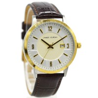 Charles Jourdan 217-13-6 Jam Tangan Pria Leather Strap Coklat ring Gold flat Putih