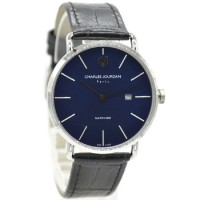 Charles Jourdan 1001-1382 Jam Tangan Pria Leather Strap Hitam Ring Silver flat Biru