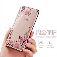 Casing Lucu Oppo F1S/A Cute Flower Plating Luxury Diamond Soft Case