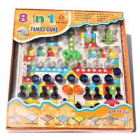 family game magnetic 8 in 1 - catur halma ludo checker - 6+
