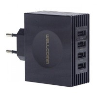 Wellcomm Charger 4 Port USB Total 4,2A Real Output Automatic Overload Cut Off Technology