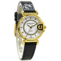Charles Jourdan 1003-2212 Jam Tangan Wanita Leather Strap Hitam Ring Gold flat Putih