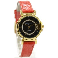 Charles Jourdan 1003-2232 Jam Tangan Wanita Leather Strap Pink Ring Gold flat Hitam