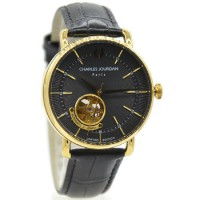 Charles Jourdan 1009-1232LE Jam Tanga Pria Leather Strap Hitam Ring Gold Flat Hitam