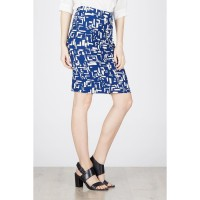 TE Midi Abstract Span Skirt Blue