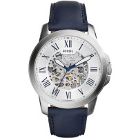 Fossil ME3111 Automatic Silver Skeleton Dial Navy Blue Leather Strap
