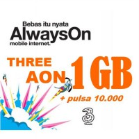 Perdana Three (3) Always On (AON) kuota 1GB + Pulsa sesama 10.000