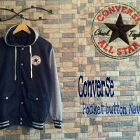 Sweater Hoodie Converse Pocket Button Navy