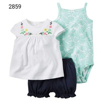 carter's 3in1 girl set 'ehite flower' kode 2859