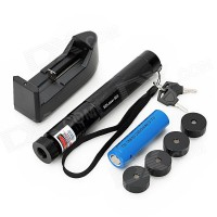 Laser 303 200 mW Green laser Pointer panjang fokus Adjustable dan pola Star Filter + 4000 mAh 18650