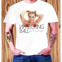 Kaos Miley Cyrus Twerk Wrecking Ball Matt Pop Mix ELV 11 Pria