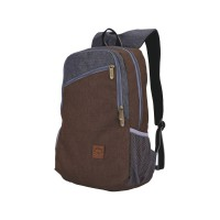 CATENZO Unisex Backpack ST 041 - Tas Ransel Canvas Extra Rain Cover - Brown (New Arrival)