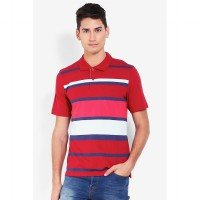 Country Fiesta MenS Polo Short Slv Stripe Maroon-AHRMCOFL0223