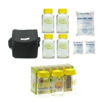 Baby Pax Bundling Cooler Bag Set Black + Botol Kaca ASI 3in1