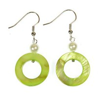 [macyskorea] ARThouse Limey Hoops Bright Lime Green Mother of Pearl Earrings Dangle 1.5 In/7007705