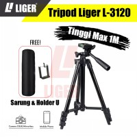 Tripod Liger L-3120 Black Edition 1 meter + Sarung dan Holder U