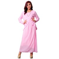 Gamis fashion Pinky Style double layer J040