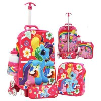 Little Pony 3d Timbul Tas Trolley Anak 3in1 Set 6 Roda Gagang Samurai - Pink