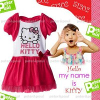 CA51202 - Pipo Carter Dress Hello Kitty White Fuschia