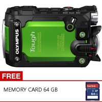 Olympus Stylus Tough TG-Tracker Action Camera- Green + Free Memory 64 gb