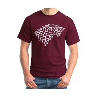 [JersiClothing] T-Shirt Game Of Thrones Stark Velvet/Flock Print Timbul - Maron
