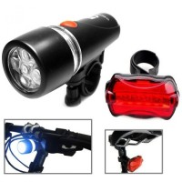 TERMURAH !!! Powerbeam Water Resistant 5 LED Bicycle Head Light + Rear Safety Flashlight