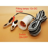 Fitting kabel 3 meter + jack buaya DC 12V with switch ON-OFF
