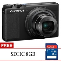 Olympus Stylus XZ-10 Digital Kamera Pocket 12MP - Hitam + Free Memory Card 8 GB