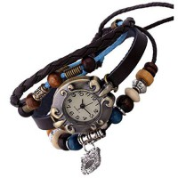 [poledit] SumBonum Jewelry Womens Alloy Leather Rope Surfer Wrap Bracelet Wrist Watch, Vin/13610772