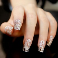 HO5101 - 3D White Lace Nail Stickers