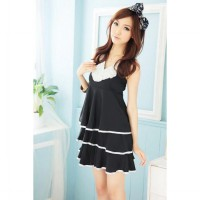 Korean Fashion Elegant pearl collar dress layers of cake