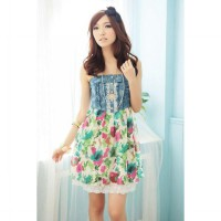 Flower Korean fashion fabric stitching flounced dress (with strap) - GREEN FLOWER