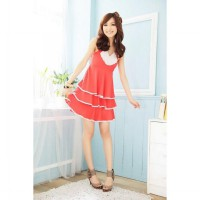Korean Fashion Elegant pearl collar dress layers of cake (ORANGE COLOR)