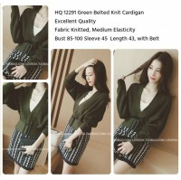 Green Belted Knit Cardigan -12291