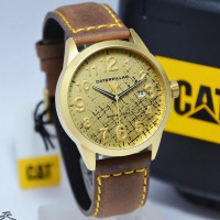 Caterpillar CAT EX 161-35-818 For Men Brown Leather Body Gold