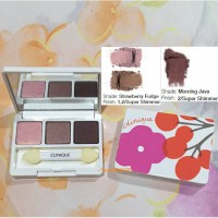 CLINIQUE ALL ABOUT SHADOW TRIO EYE PALETTE STRAWBERRY FUDGE TRAVEL SIZE
