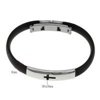 Gelang Unisex Rubber Stainless Steel Bracelets