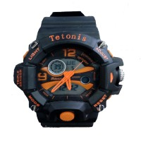 Tetonis Dual Time - Jam Tangan Pria - Rubber Strap Hitam - Black Yellow - TS-56